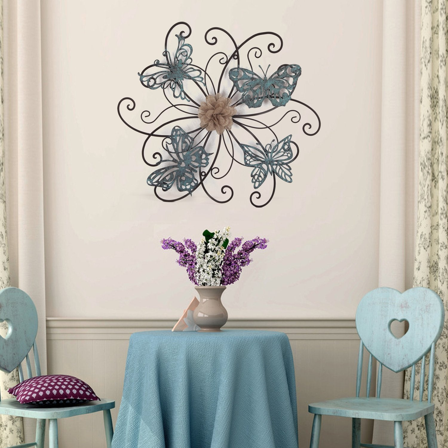 Details About Adeco Flower And Butterfly Urban Design Metal Wall Decor For  Nature Home Art Pertaining To Flower Urban Design Metal Wall Decor (Photo 11 of 30)