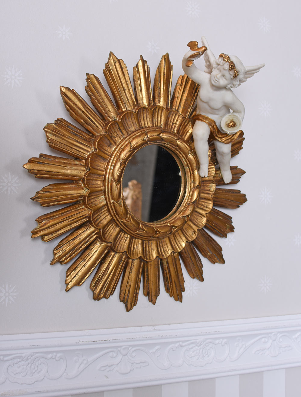 Details About Baroque Mirror Angel Figure Vintage Wall Mirror Gold Sun Mirror Cupid Sculpture Inside Bem Decorative Wall Mirrors (Gallery 10 of 30)
