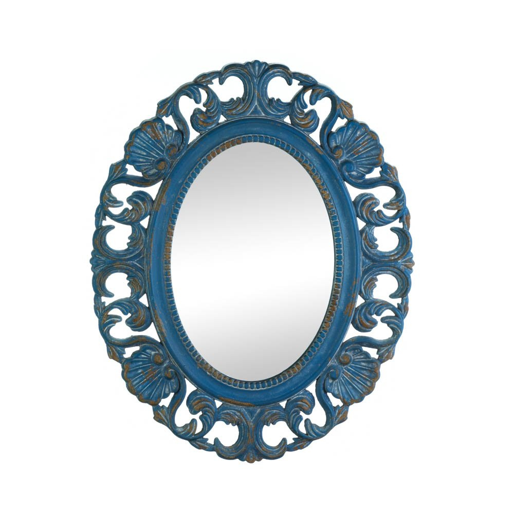 Details About Bathroom Wall Mirrors, Oval Vintage Blue Mdf Wood Frame Mirror For Wall Decor Pertaining To Oval Wood Wall Mirrors (Gallery 12 of 30)