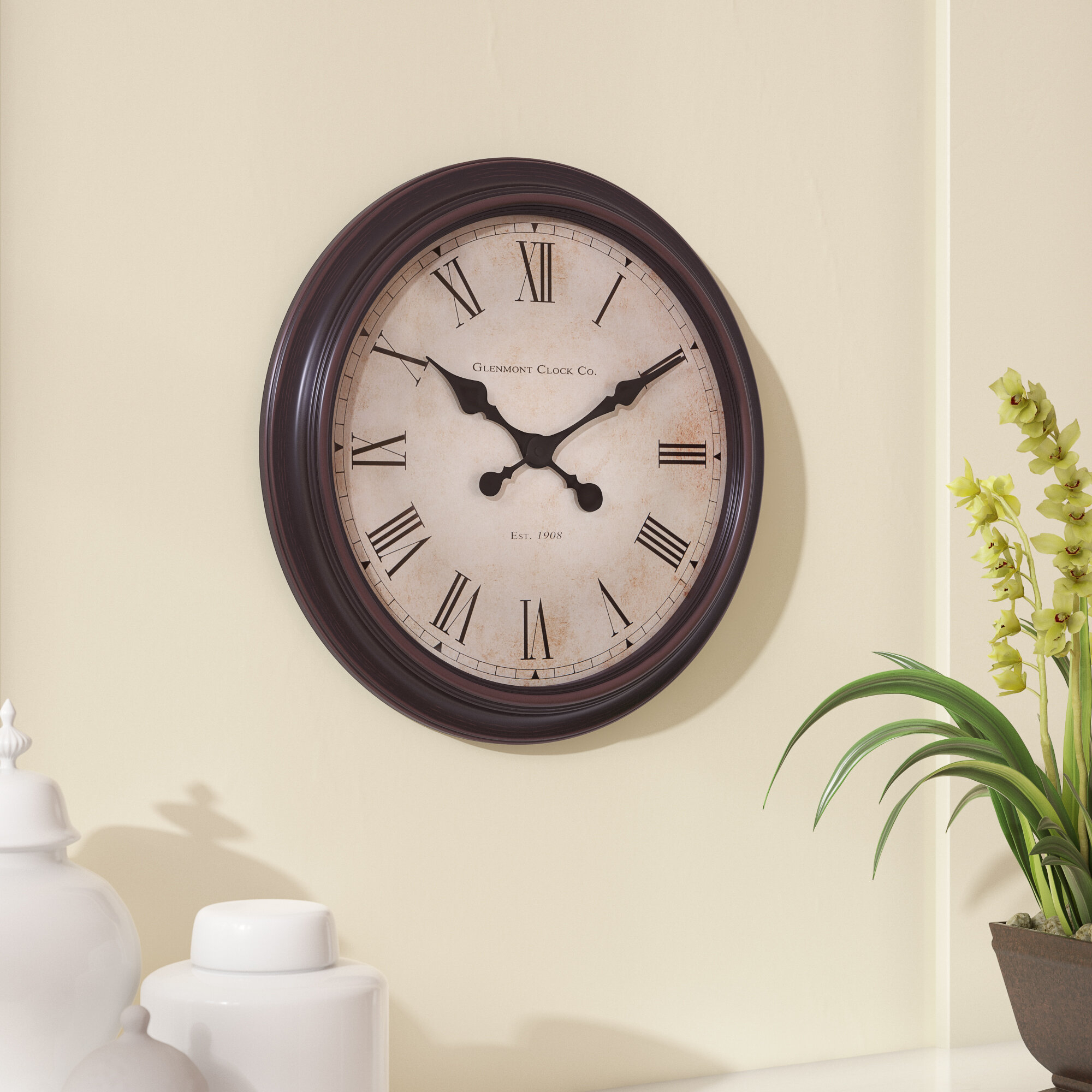 "Details About Charlton Home Gossman 18"" Wall Clock Pertaining To Wall Decor By Charlton Home (Gallery 16 of 30)"