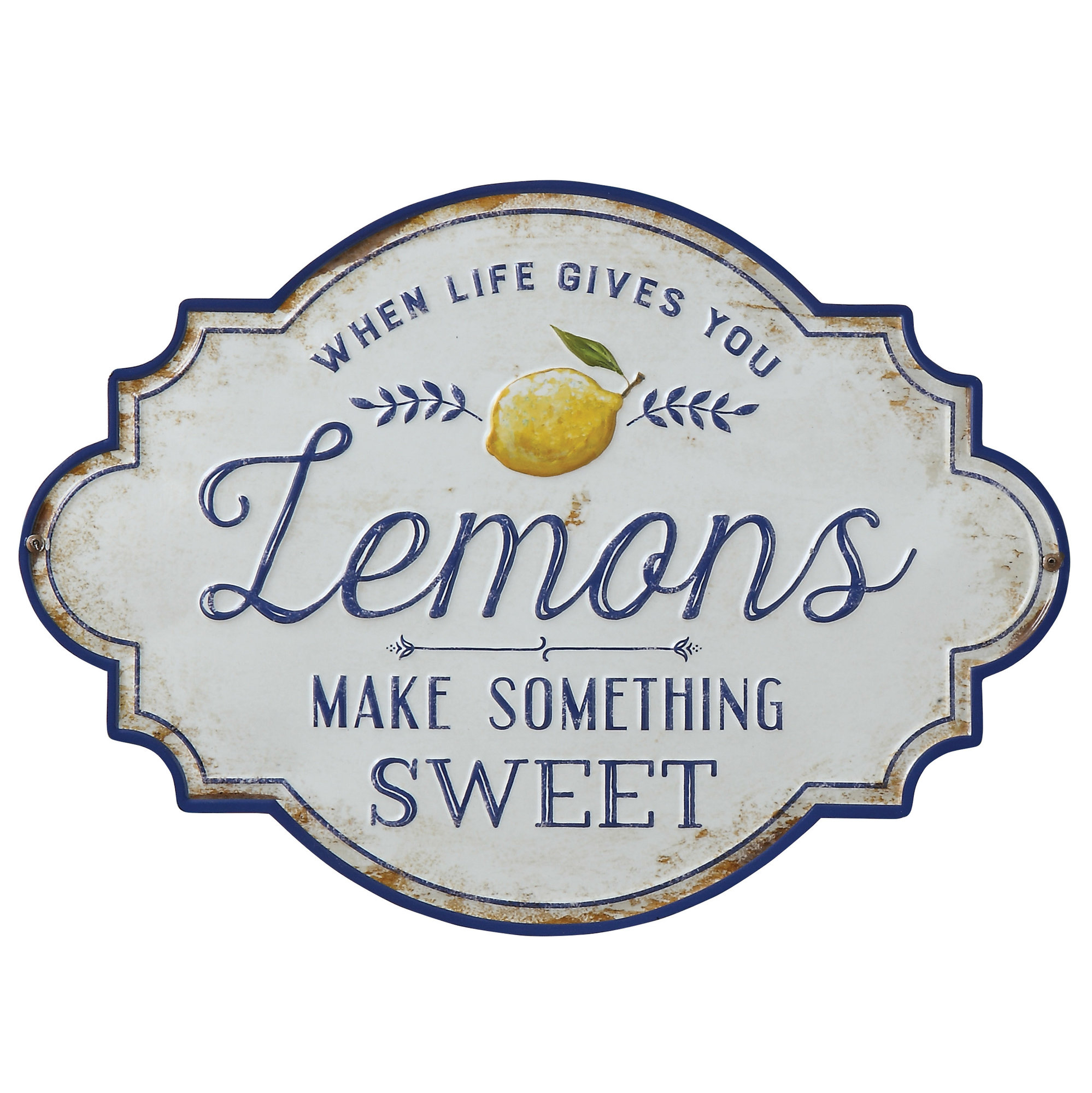 "Details About Charlton Home ""when Life Gives You Lemons Make Something  Sweet"" Metal Wall Décor In Wall Decor By Charlton Home (Photo 7 of 30)"