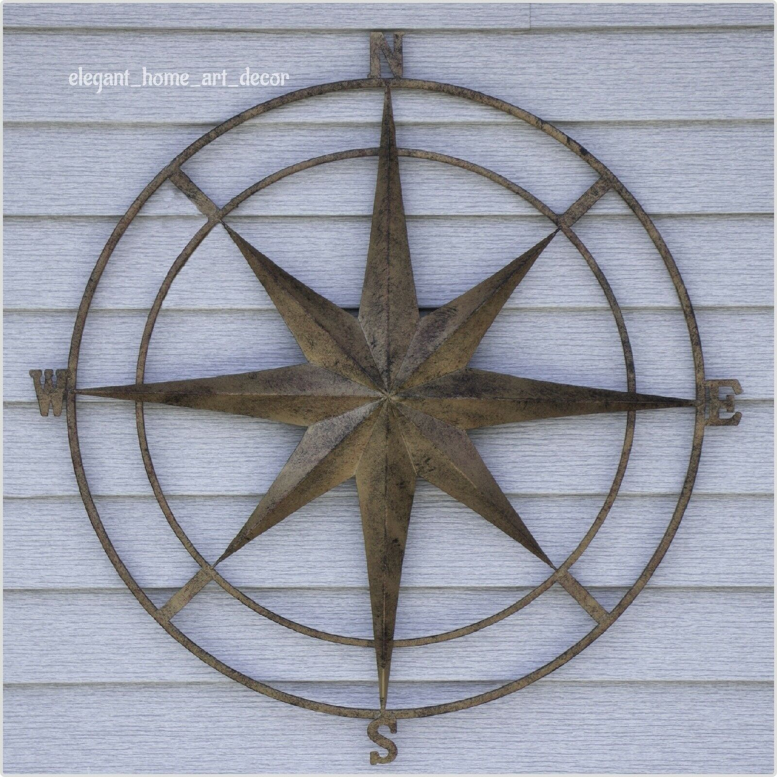 Details About Compass Wall Decor Metal Vintage Rustic Style Nautical Garden  Art Home Sculpture throughout Outdoor Metal Wall Compass (Image 15 of 30)