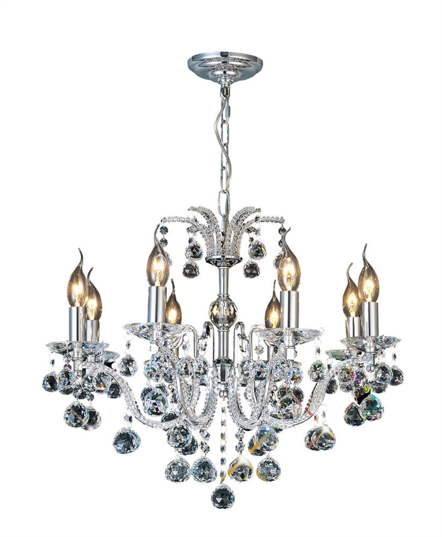 Details About Corona Ceiling 8 Light Polished Chrome/crystal – Diyas Intended For Corona 12 Light Sputnik Chandeliers (View 17 of 30)