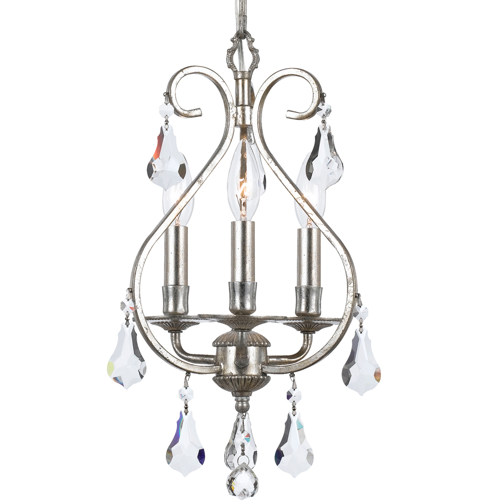 Details About Crystorama 5013 Os Cl Mwp Ashton Hand Cut Crystal Mini  Chandelier, Olde Silver For Clea 3 Light Crystal Chandeliers (Photo 14 of 30)