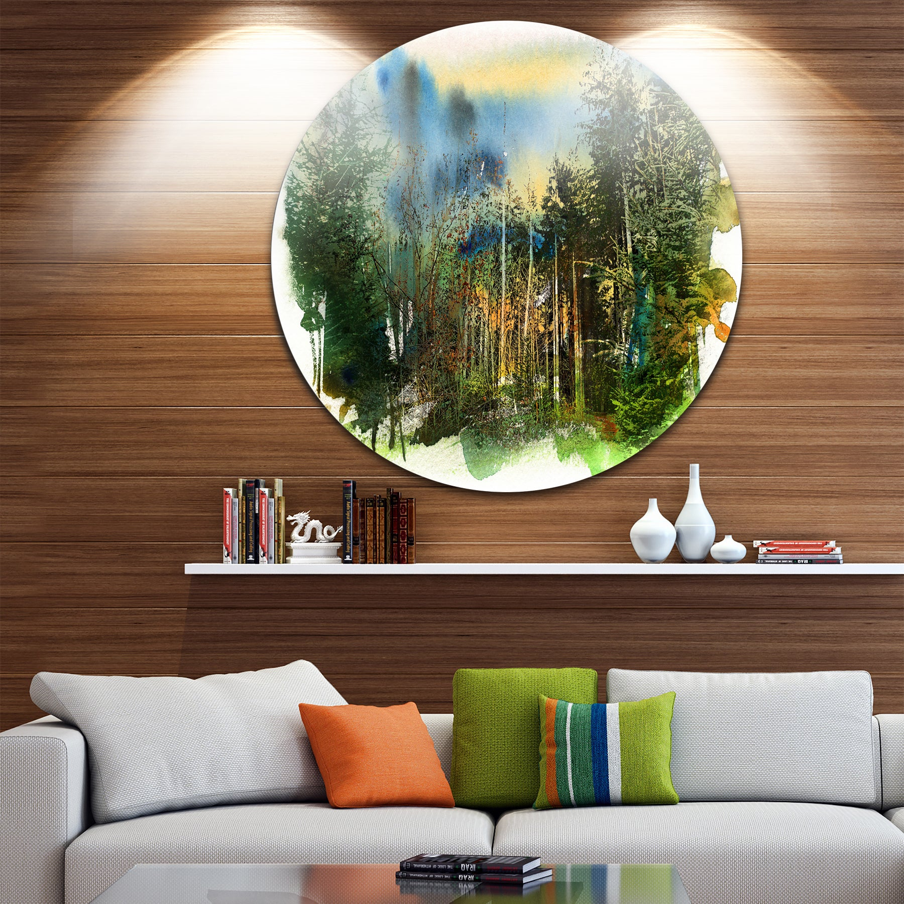 Details About Designart 'colorful Forest Watercolor' Landscape Painting  Extra Large Intended For Contemporary Forest Metal Wall Decor (Photo 21 of 30)