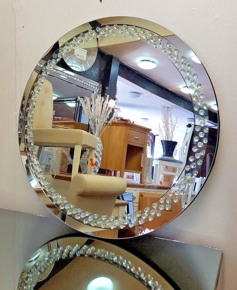 Details About Floating Crystal Round Wall Mirror Elegent pertaining to Point Reyes Molten Round Wall Mirrors (Image 9 of 30)