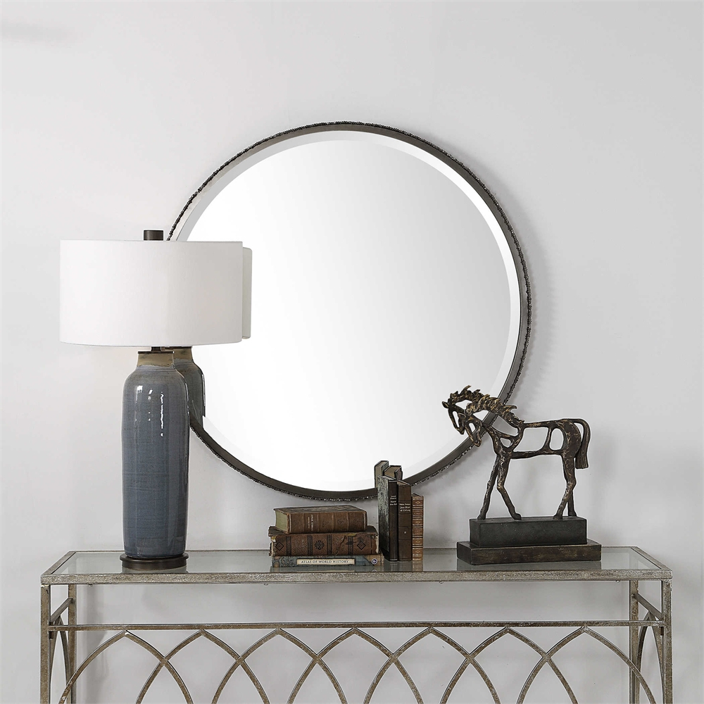 "Details About Large Round Contemporary 3 Dimensional Iron Dowel Beveled  Wall Mirror Modern 40"" With Modern & Contemporary Beveled Wall Mirrors (Photo 28 of 30)"