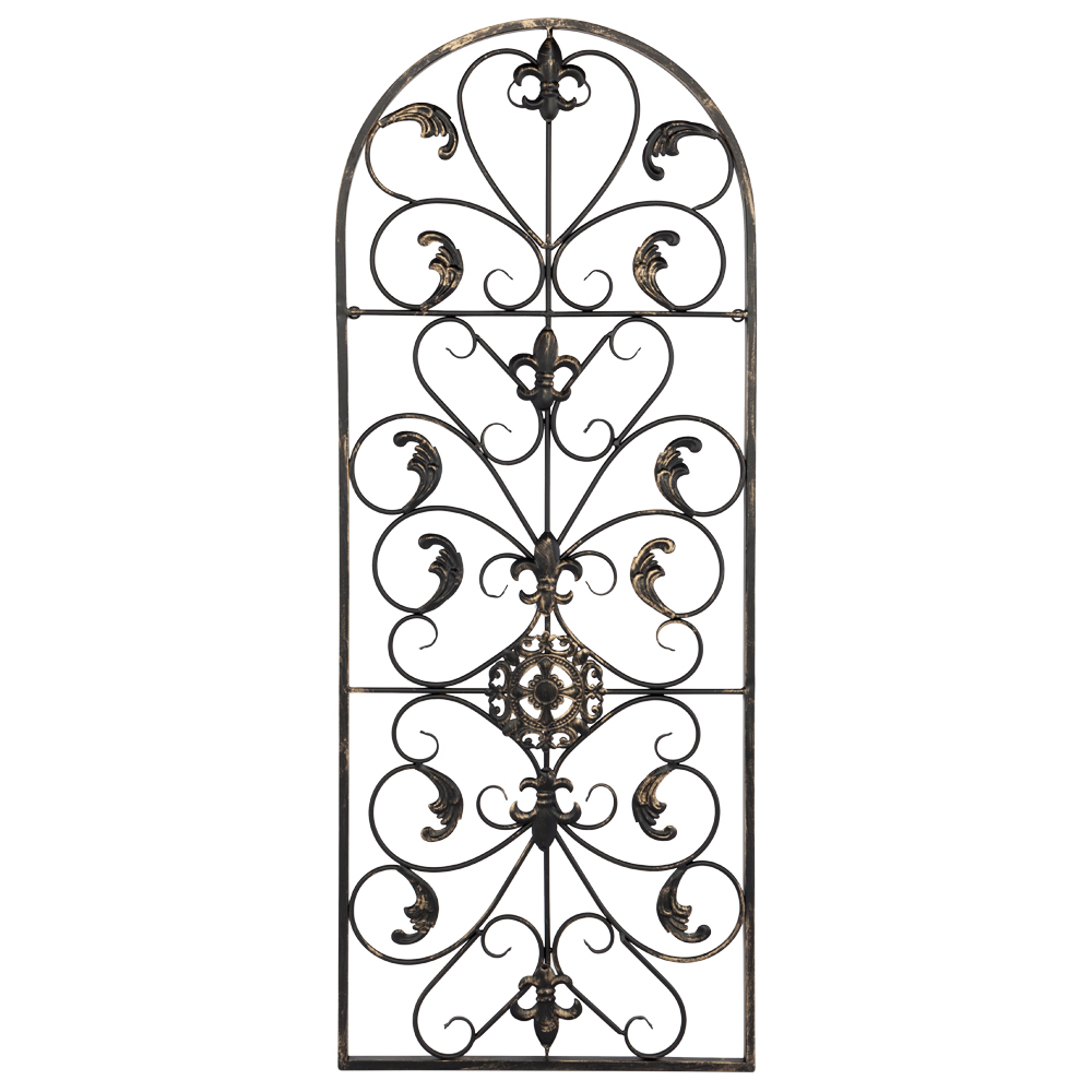 Details About Large Tuscan Wrought Iron Metal Wall Decor Rustic Antique  Garden Indoor Outdoor Intended For Ornamental Wood And Metal Scroll Wall Decor (Photo 8 of 30)