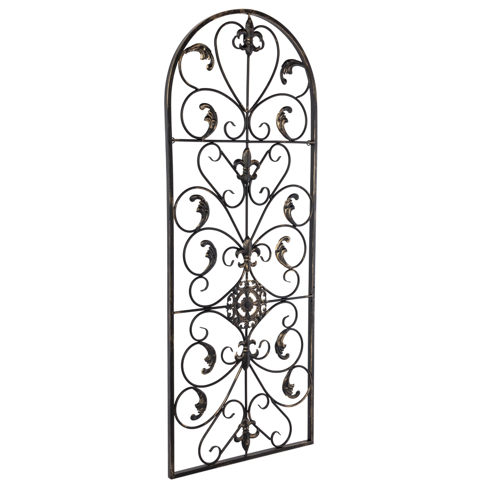 Details About Large Tuscan Wrought Iron Metal Wall Decor Rustic Antique  Garden Indoor Outdoor with regard to Ornamental Wood and Metal Scroll Wall Decor (Image 10 of 30)
