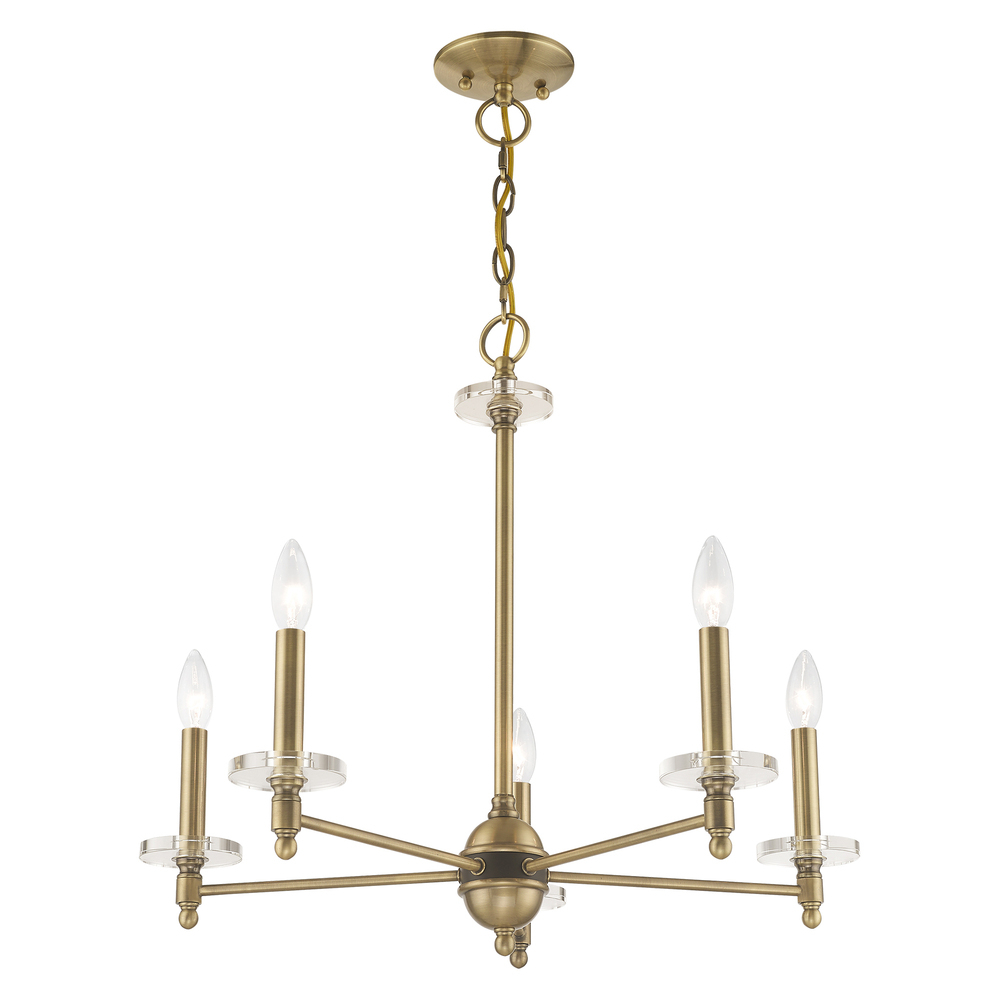 Details About Livex Lighting 42705 01 5 Lt Antique Brass Chandelier Regarding Whitten 4 Light Crystal Chandeliers (Gallery 26 of 30)