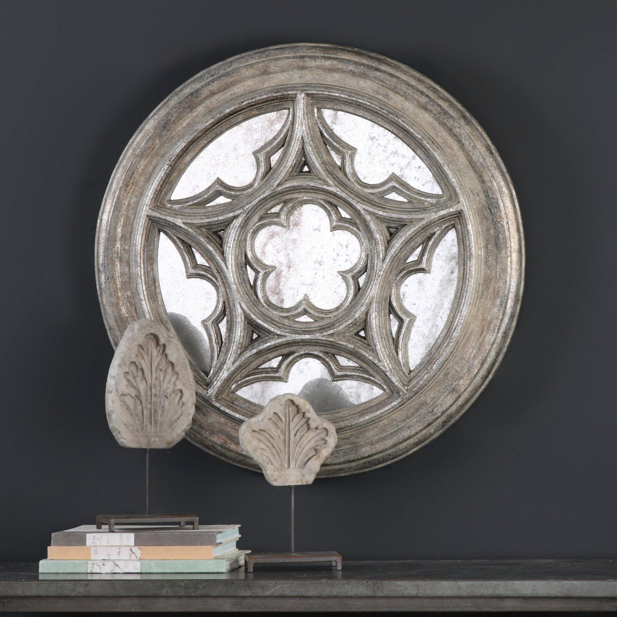 Details About One Allium Way Antique Star Medallion Wall Mirror within Medallion Accent Mirrors (Image 8 of 30)