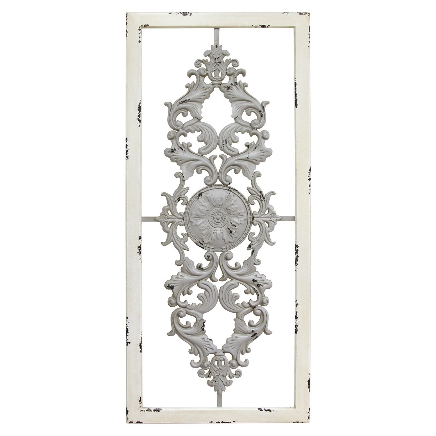 Details About Ornate Scroll Panel Grey Wall Decor White Frame 36X16 Metal  Wood Vintage Display in Ornate Scroll Wall Decor (Image 4 of 30)