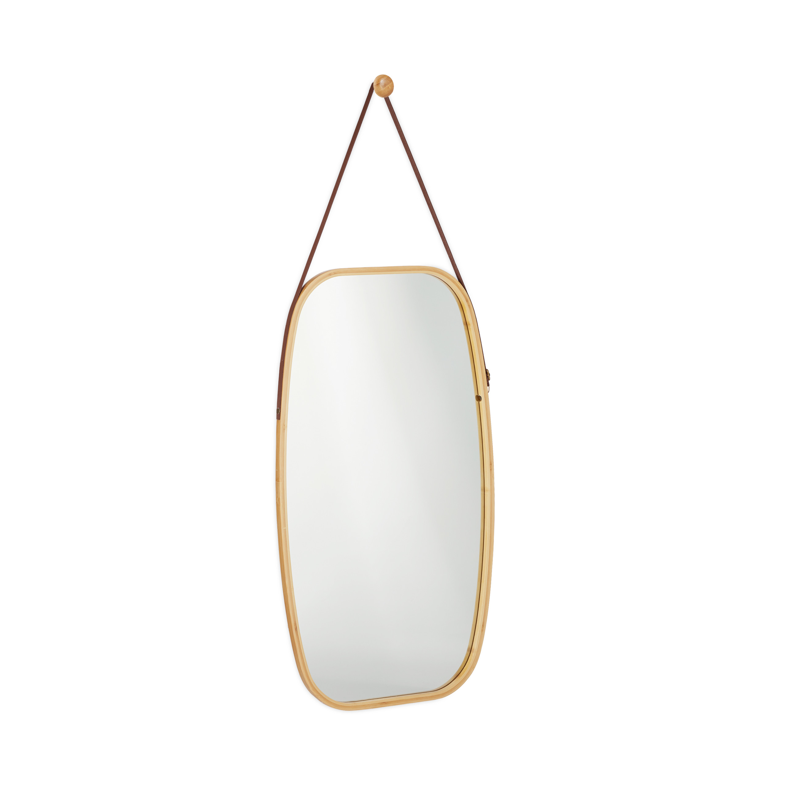 Details About Oval Hallways Wall Mirror, Hanging Vanity Mirror With Strap, Decorative Bamboo Inside Bem Decorative Wall Mirrors (Gallery 28 of 30)