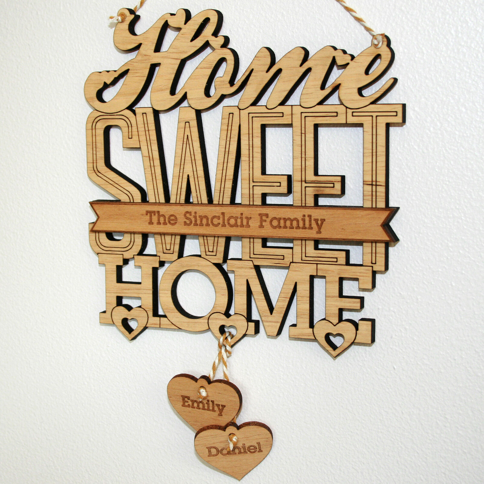 Details About Personalised 'home Sweet Home' House Warming Gift Plaque, New  Home Sign With Regard To Laser Engraved Home Sweet Home Wall Decor (Photo 24 of 30)