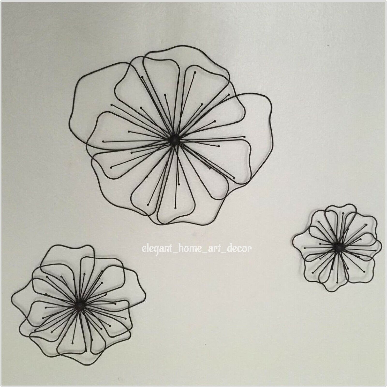 Details About Rustic Metal Flower Wall Decor Abstract Set Of 3 Wire Wall Sculpture Home Garden Regarding Metal Flower Wall Decor (Set Of 3) (View 7 of 30)