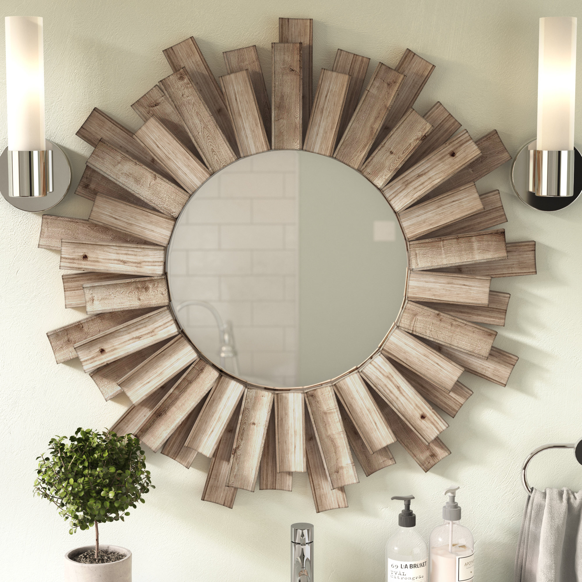 Details About Union Rustic Perillo Burst Wood Accent Mirror Within Wood Accent Mirrors (Photo 1 of 30)