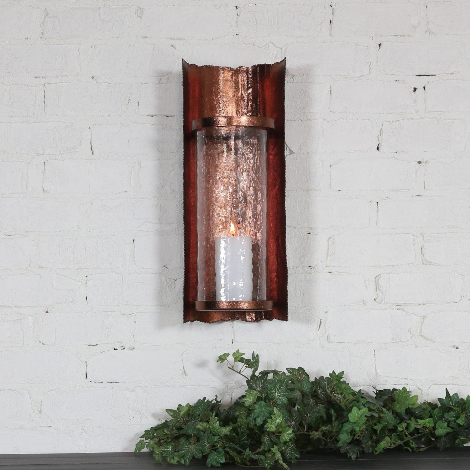 Details About Uttermost Antique Copper Sconce Hammered Glass Shade Candle Holder Wall Decor Intended For Three Glass Holder Wall Decor (View 7 of 30)