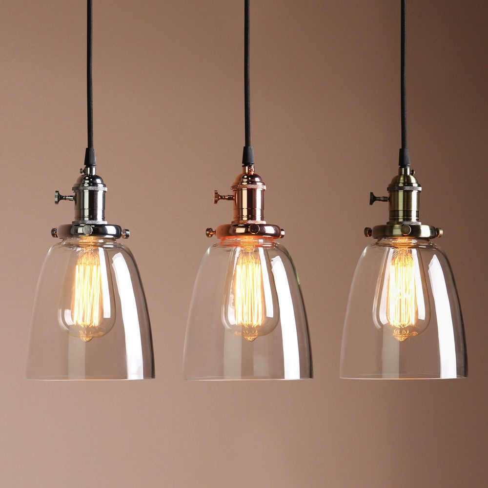 Details About Vintage Industrial Ceiling Lamp Cafe Glass In Vernice 3 Light Cluster Bell Pendants (Photo 30 of 30)