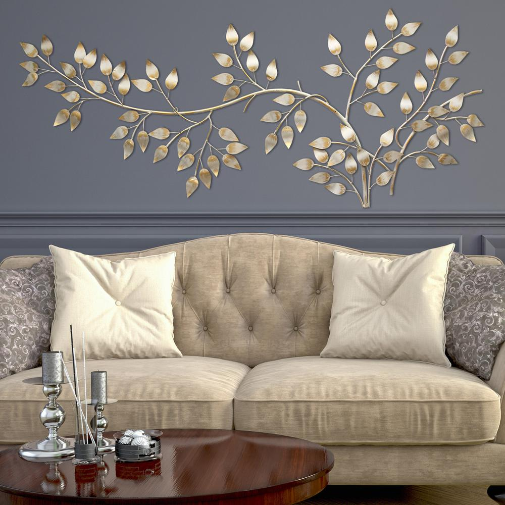 Details About Wall Decor Decorative Metal Hanging Decorative Home Room Bedroom Gold Leave Art Pertaining To Blowing Leaves Wall Decor (View 17 of 30)