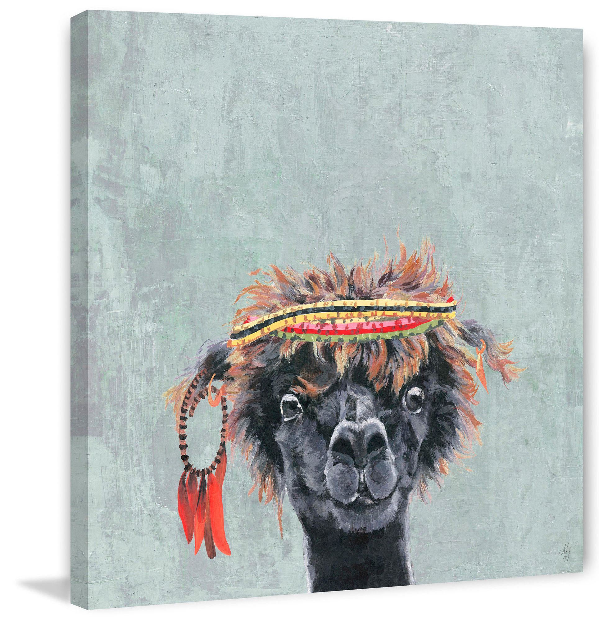 Details About Wrought Studio 'hippie Llama' Framed Acrylic Painting Print  On Canvas Intended For Rings Wall Decor By Wrought Studio (Photo 25 of 30)