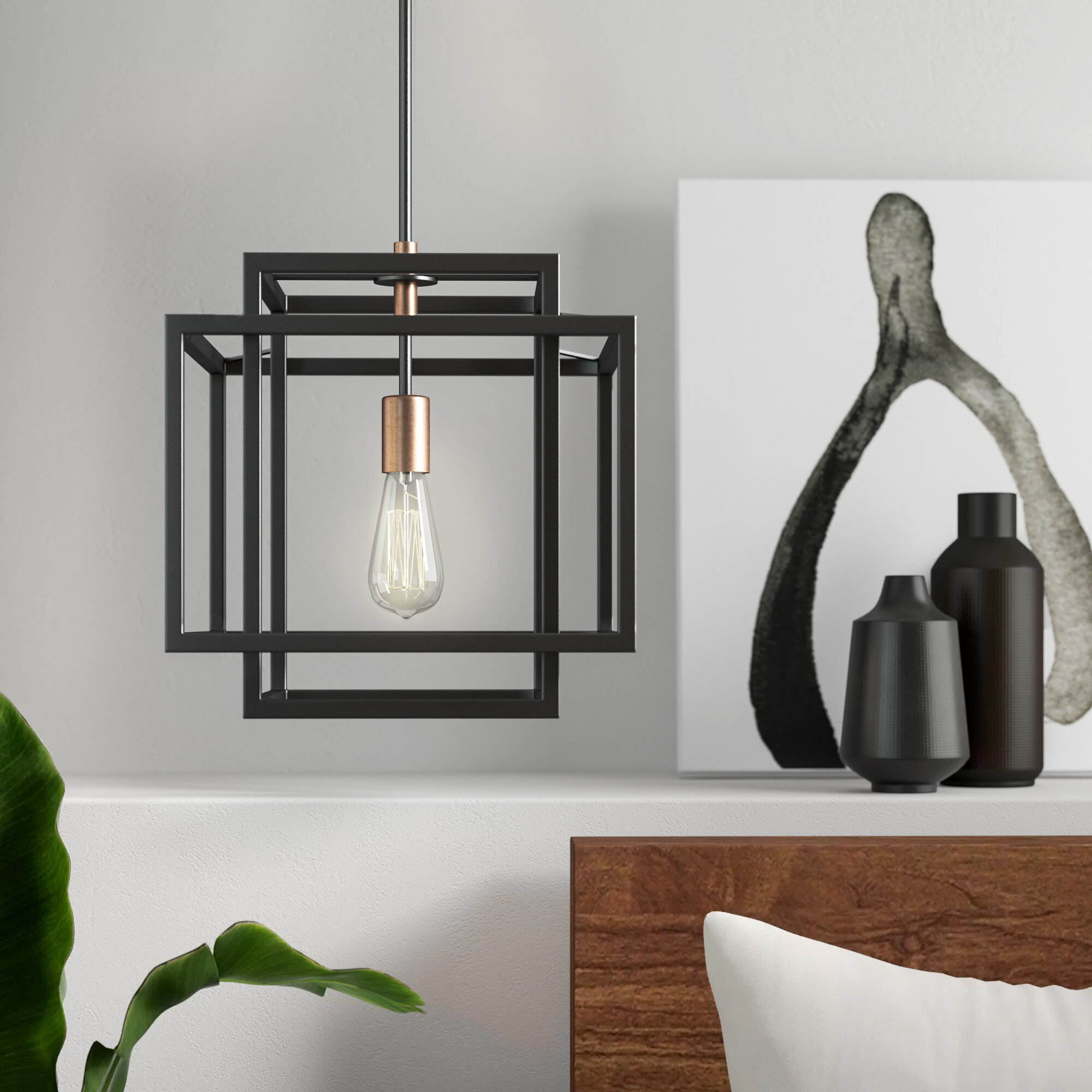 Dewees 1 Light Square/rectangle Pendant Pertaining To Barrons 1 Light Single Cylinder Pendants (Photo 22 of 30)