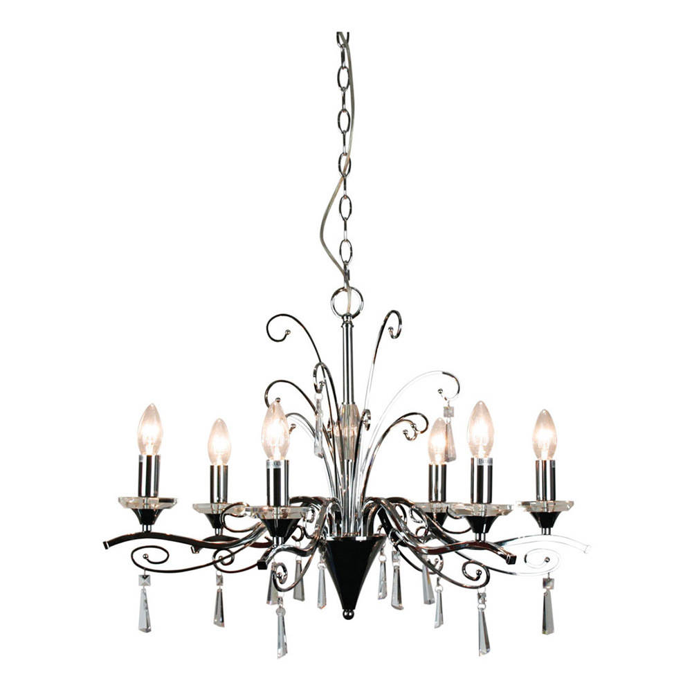Diaz 6 Light Crystal Pendant Chrome   Ol68999/6Ch With Regard To Diaz 6 Light Candle Style Chandeliers (Photo 8 of 30)