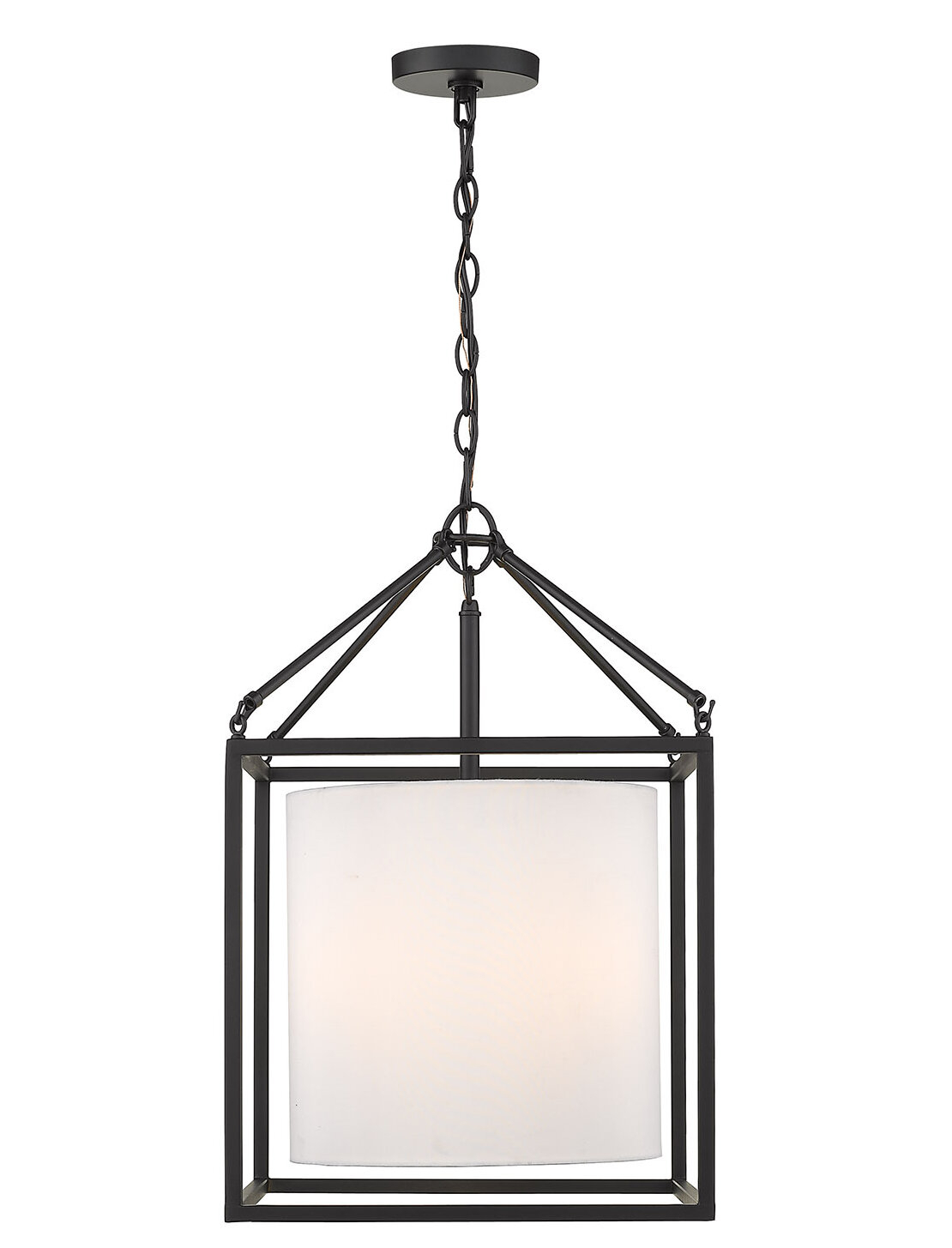 Dinapoli 3 Light Lantern Chandelier Regarding Louanne 3 Light Lantern Geometric Pendants (Photo 7 of 30)