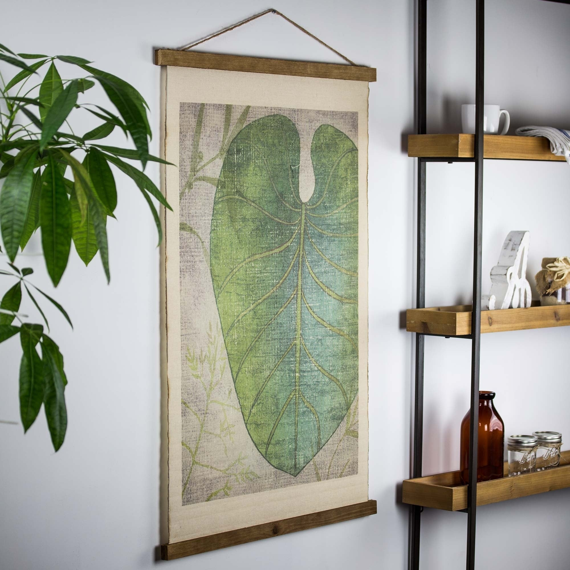 Discontinued – American Art Decor Leaf Wall Scroll Tapestry With Rope With Scroll Leaf Wall Decor (View 14 of 30)