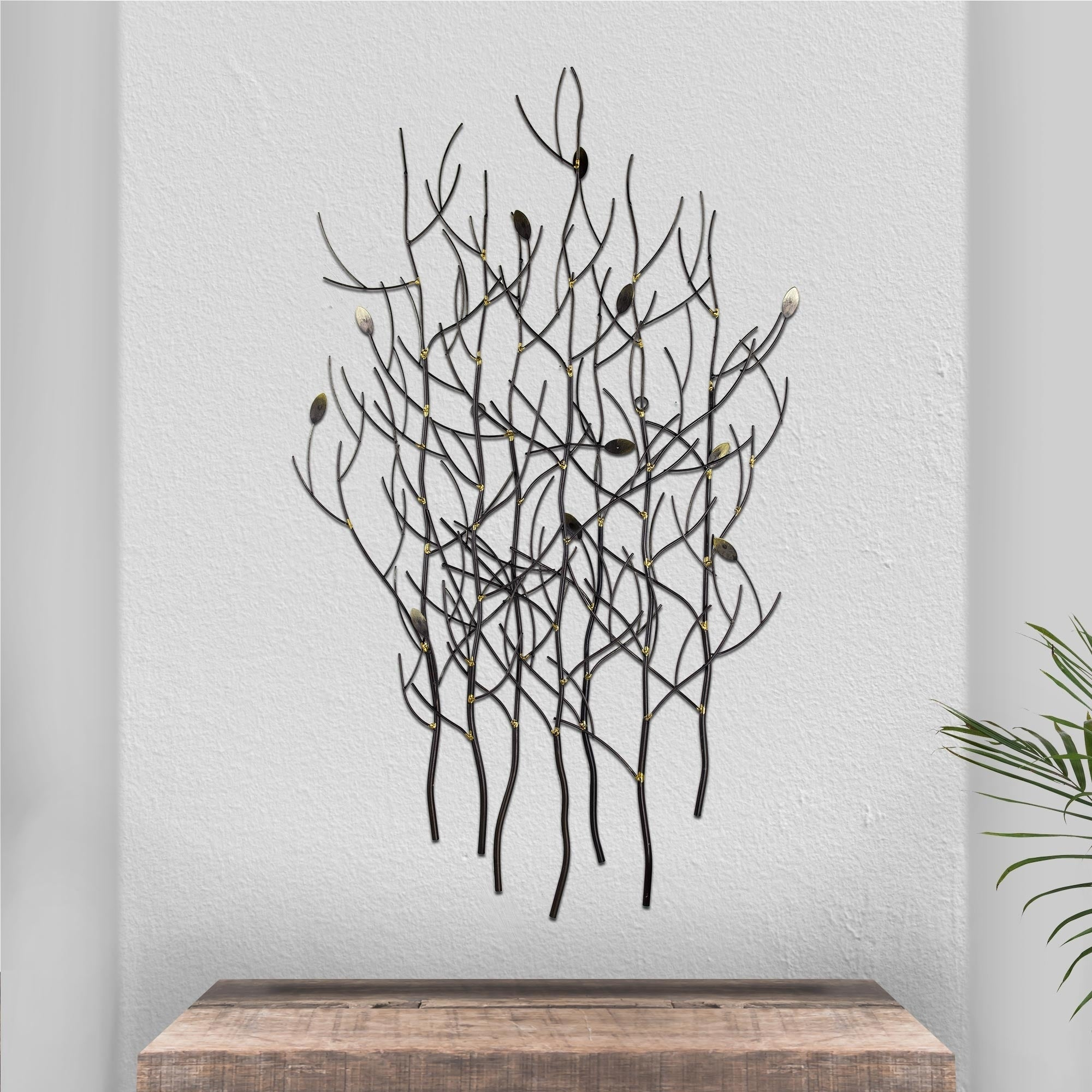 Discontinued - Silver Branches Gold Leaves Metal Sculpture Wall Art Decor  Accent intended for Leaves Metal Sculpture Wall Decor (Image 14 of 30)