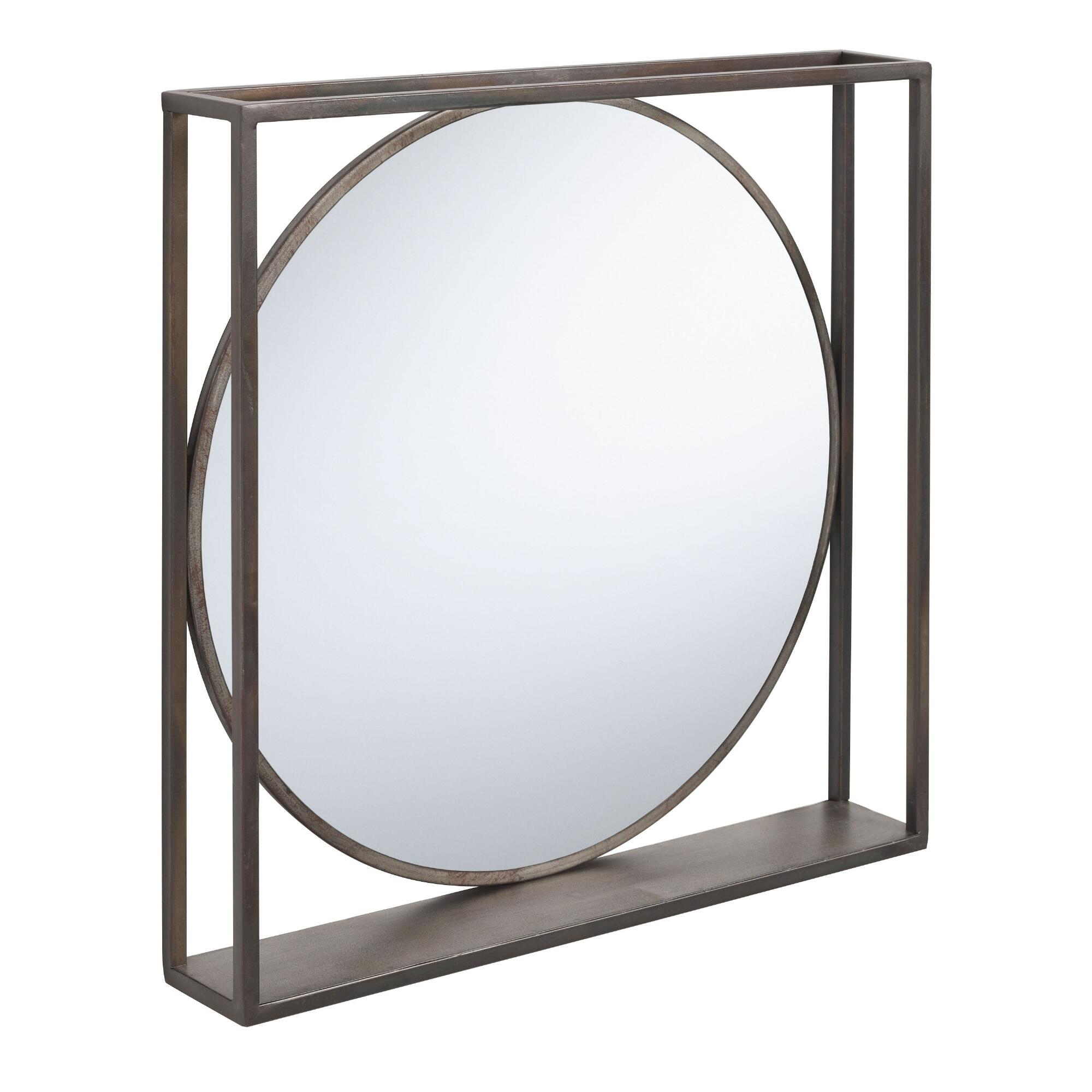 Distressed Black Framed Mirror With Shelfworld Market within Peetz Modern Rustic Accent Mirrors (Image 9 of 30)