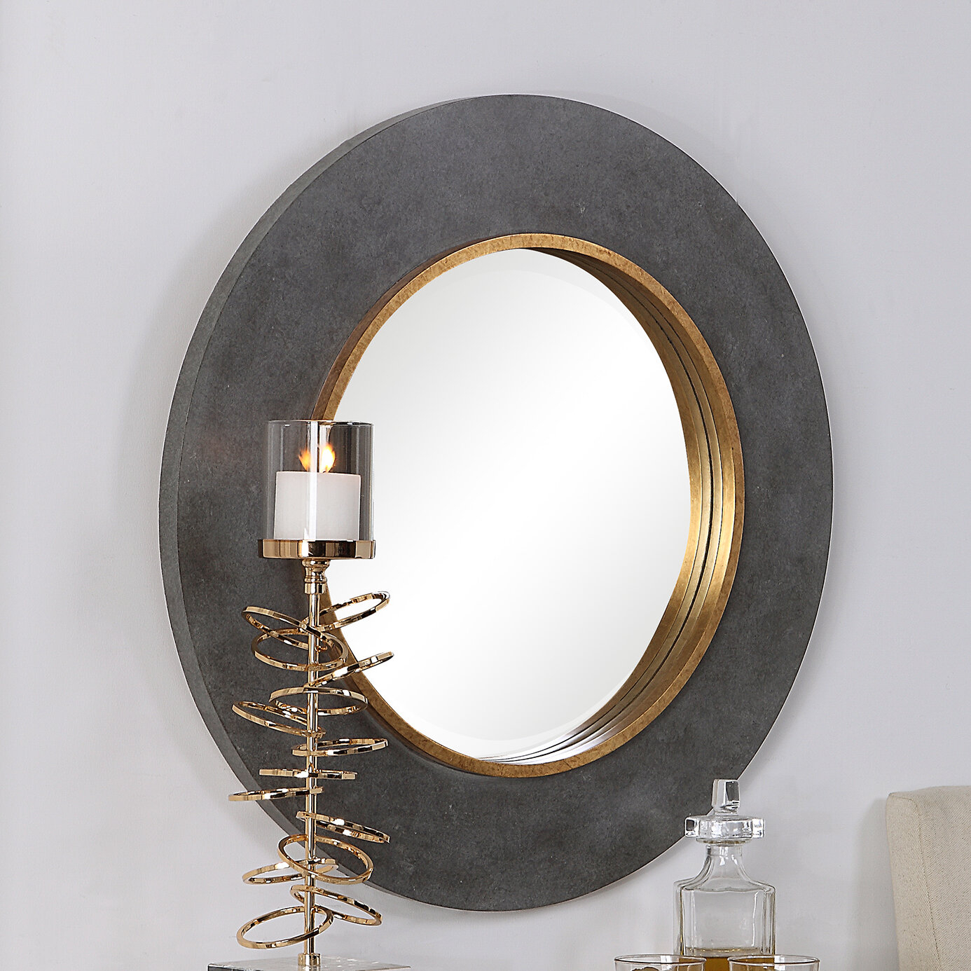 Distressed Driftwood Mirrors | Wayfair Inside Alie Traditional Beveled Distressed Accent Mirrors (Image 15 of 30)