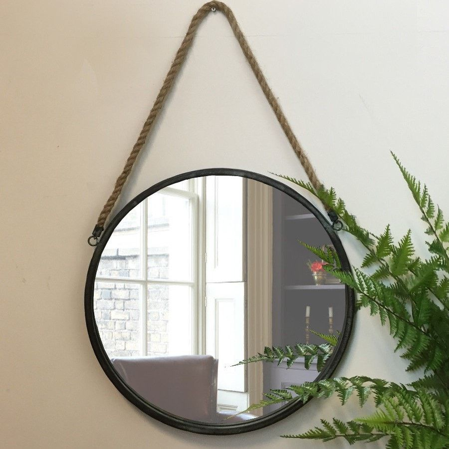 Distressed Hanging Rope Mirror In 2019 | Home: Ideas | Rope Inside Bem Decorative Wall Mirrors (Photo 12 of 30)