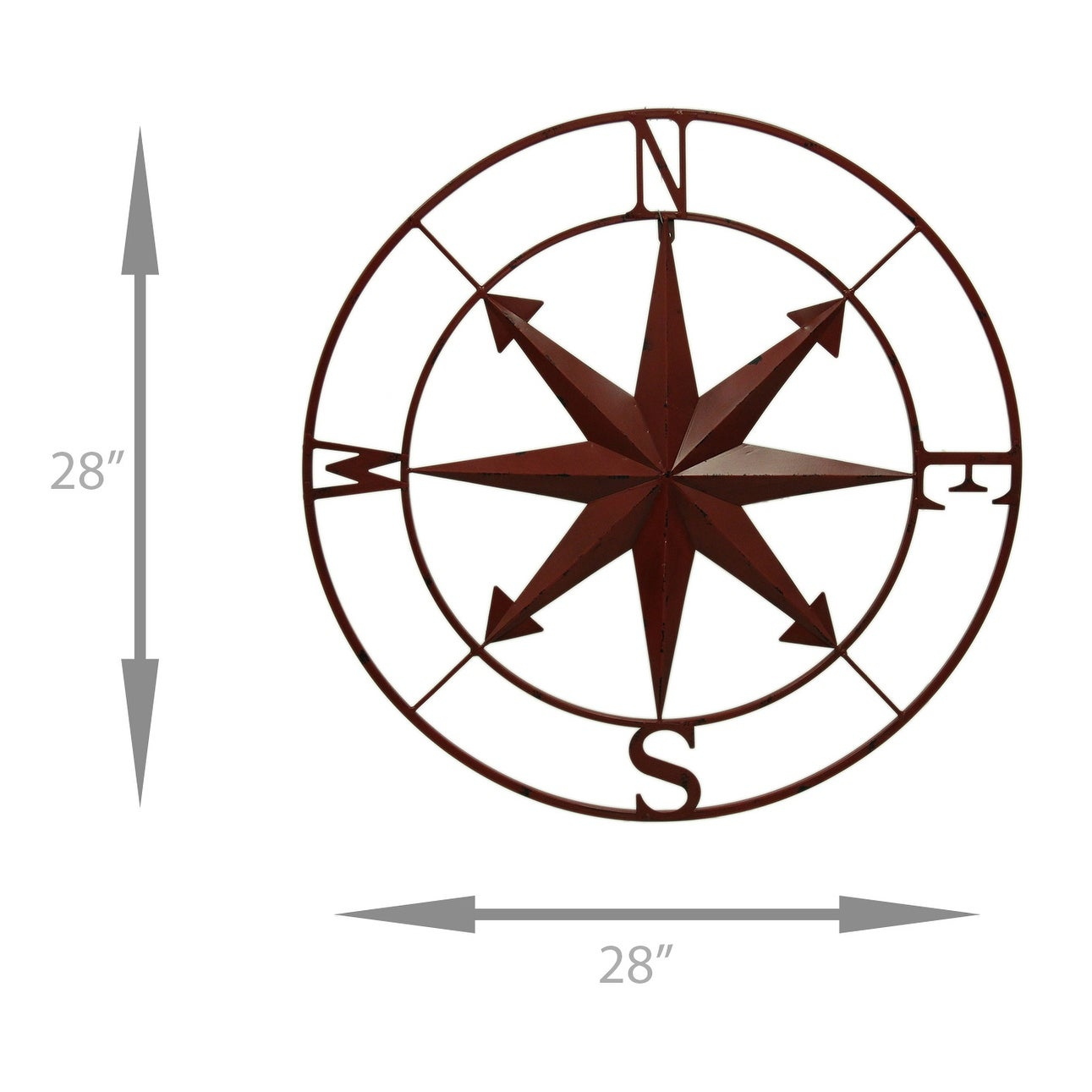 Distressed Metal Indoor/outdoor Compass Rose Wall Hanging 28 Inch - 28 X 28  X 0.5 Inches intended for Outdoor Metal Wall Compass (Image 16 of 30)