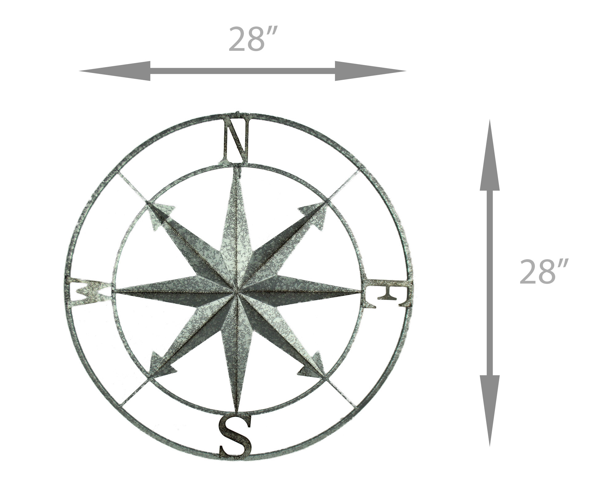Distressed Metal Indoor/outdoor Compass Rose Wall Hanging 28 Inch Inside Outdoor Metal Wall Compass (Photo 28 of 30)