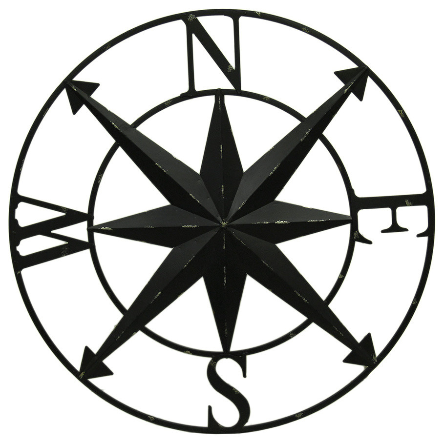 Distressed Metal Indoor/outdoor Compass Rose Wall Sculpture 28 Inch in Outdoor Metal Wall Compass (Image 18 of 30)