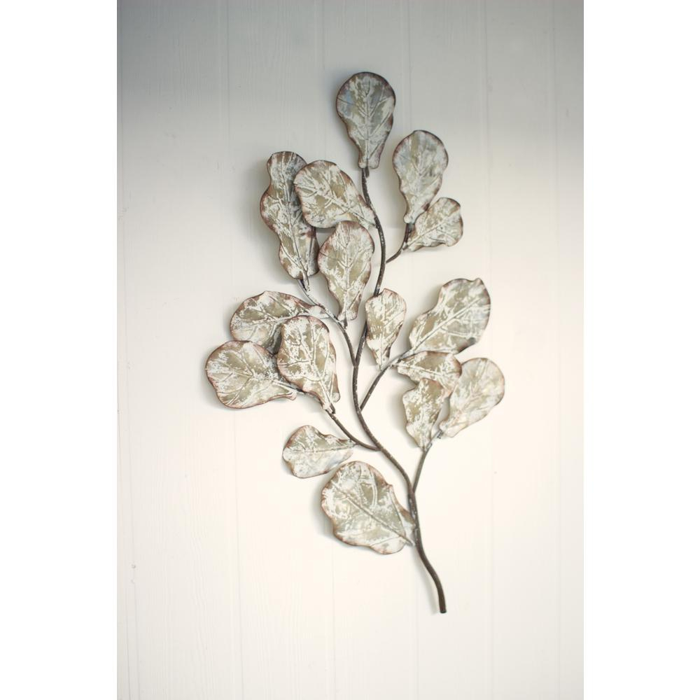 Distressed White Metal Leaf Wall Decoration For Leaves Metal Sculpture Wall Decor (Photo 7 of 30)