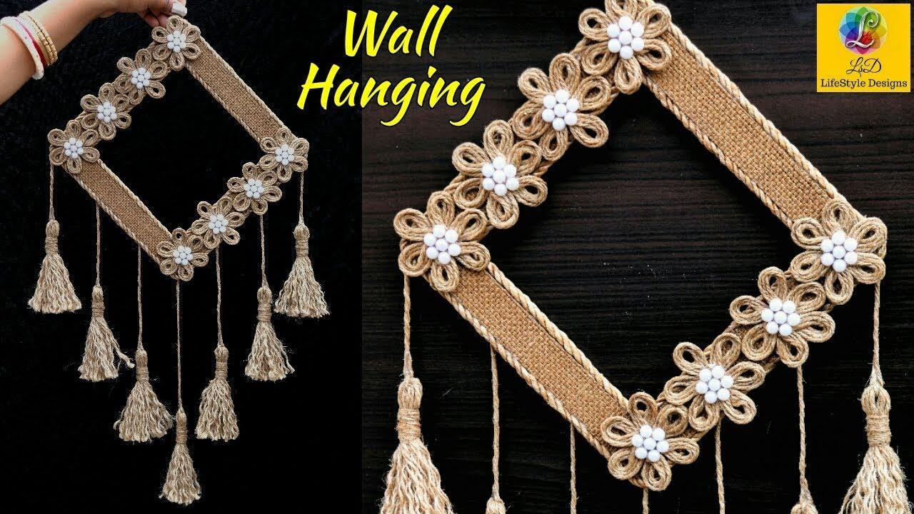 Diy Easy Room Decor Jute Wall Hanging | Showpiece Making Using Jute | Jute Rope Craft Idea Regarding Metal Rope Wall Sign Wall Decor (View 21 of 30)
