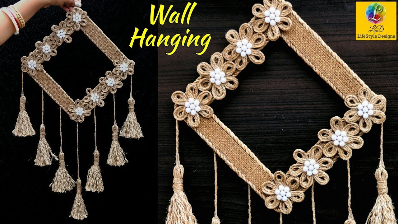 Diy Easy Room Decor Jute Wall Hanging | Showpiece Making Using Jute | Jute Rope Craft Idea Within Metal Rope Wall Sign Wall Decor (View 13 of 30)