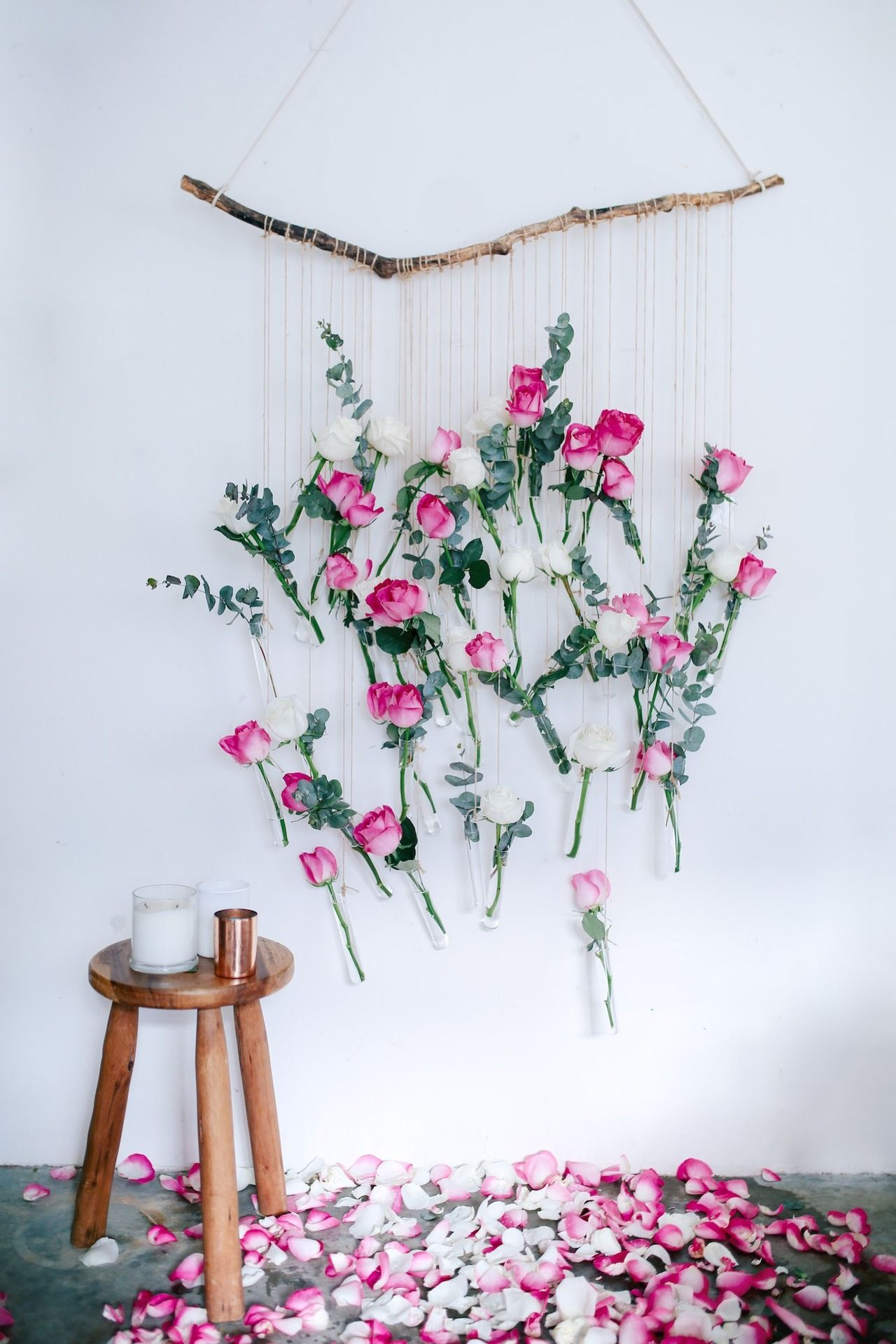 Diy Floral Vase Wall Hanging (Using Rose And Eucalyptus Within Flower Wall Decor (Photo 3 of 30)