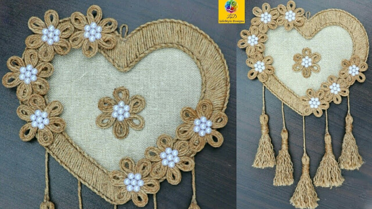 Diy Heart Shaped Wall Hanging With Jute Rope | Wall Decor Showpiece Making Using Jute Rope With Regard To Metal Rope Wall Sign Wall Decor (Gallery 30 of 30)