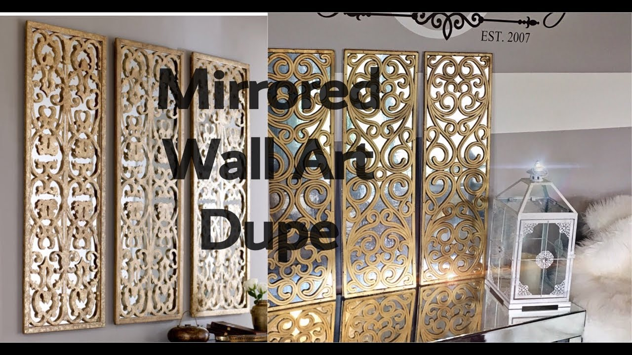 Diy Home Decor – How To Make A 3 Panel Faux Mirror Wall Art Using A Doormat 😱!! Pertaining To Scroll Panel Wall Decor (View 11 of 30)