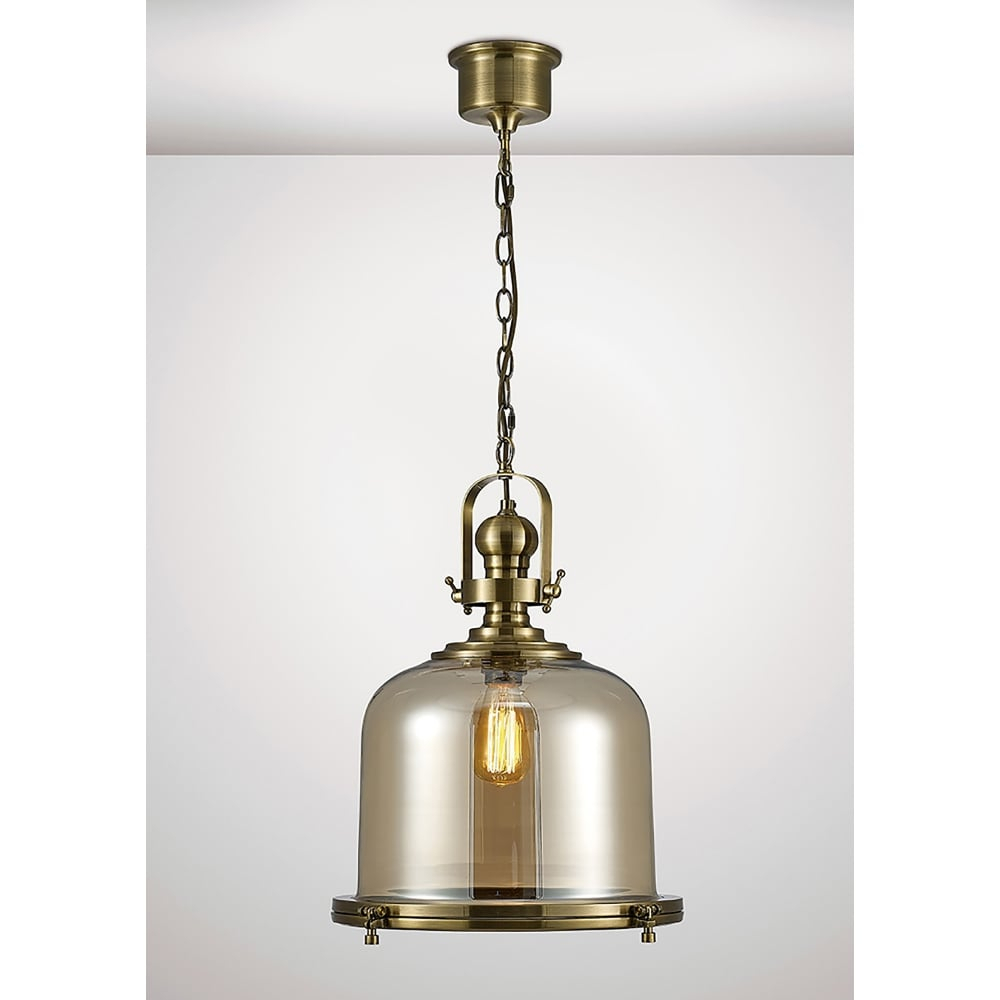 Diyas Riley Single Light Large Ceiling Pendant In Antique Brass And Bell  Shaped Glass Shade Intended For Terry 1 Light Single Bell Pendants (Photo 11 of 30)