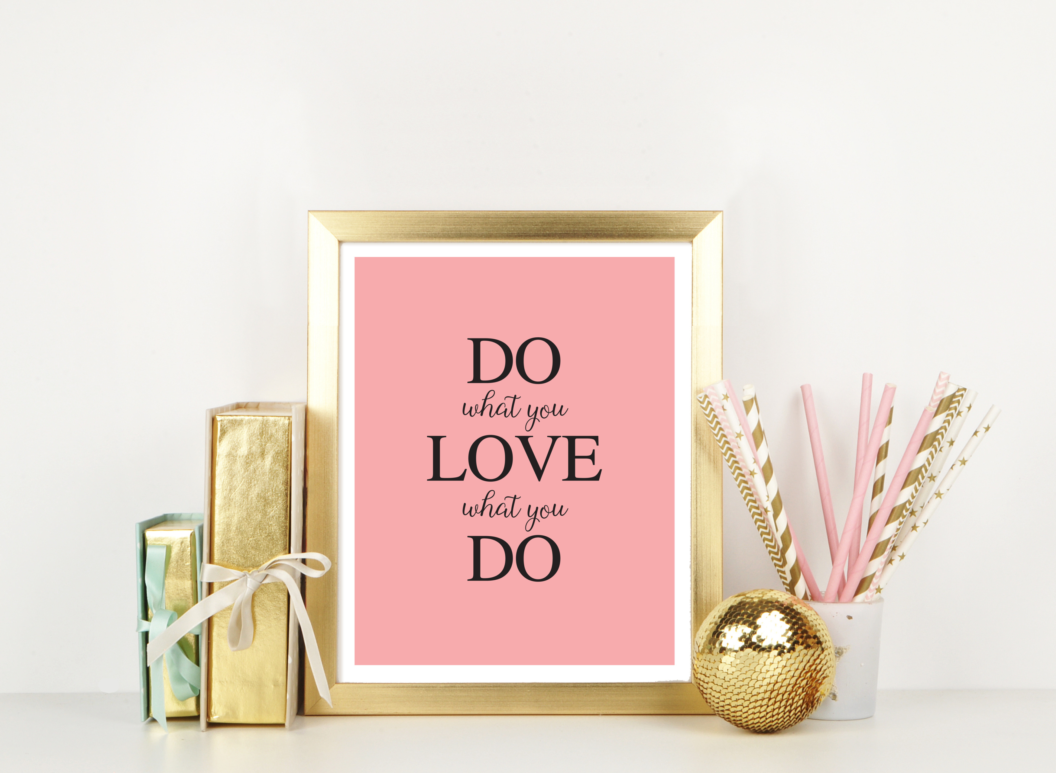 Do What You Love Printable Artwork In Pink Within Rectangle Like Yourself Inspirational Typography Wall Plaque (View 23 of 30)