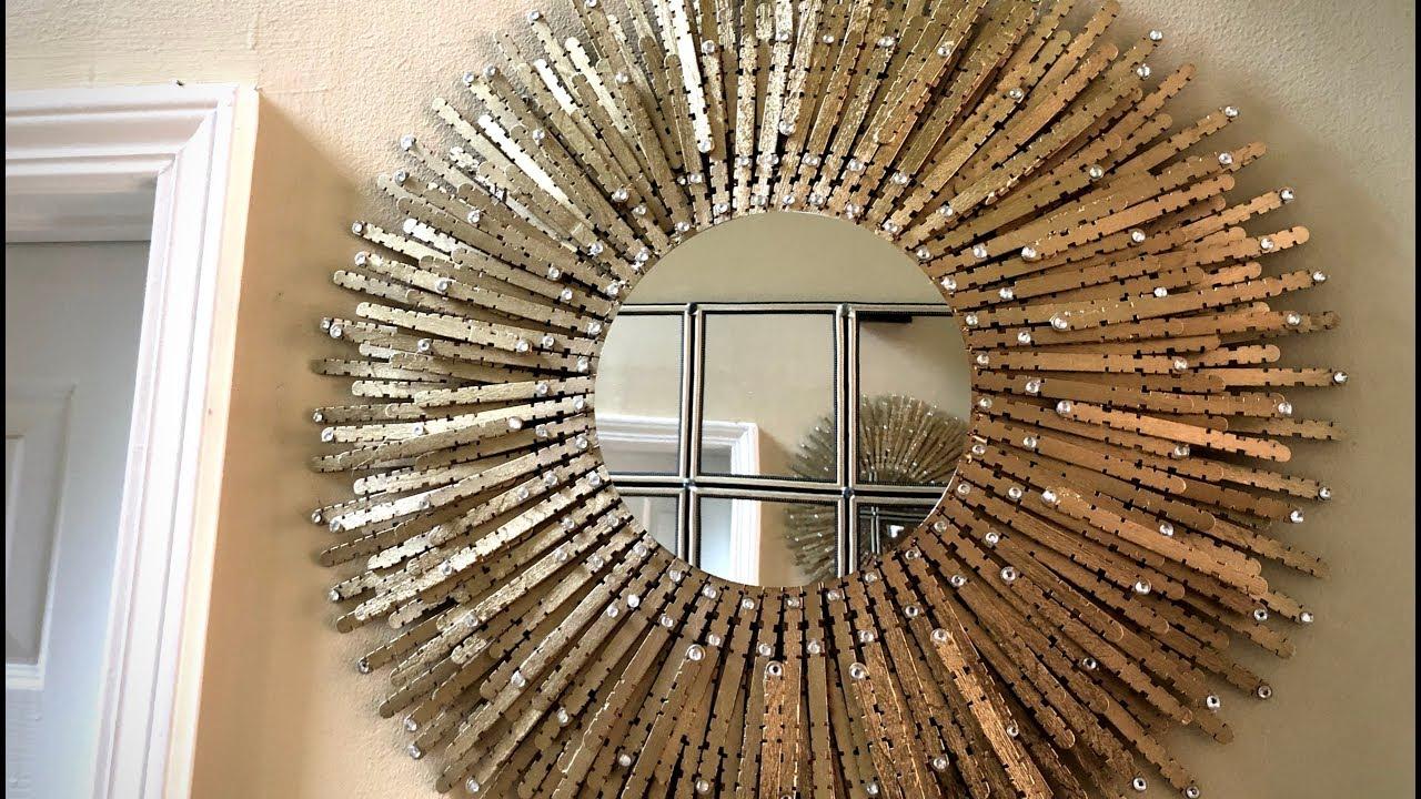Dollar Tree Diy   💕 Gold Sunburst Wall Mirror 💕 Throughout Deniece Sunburst Round Wall Mirrors (Photo 11 of 30)