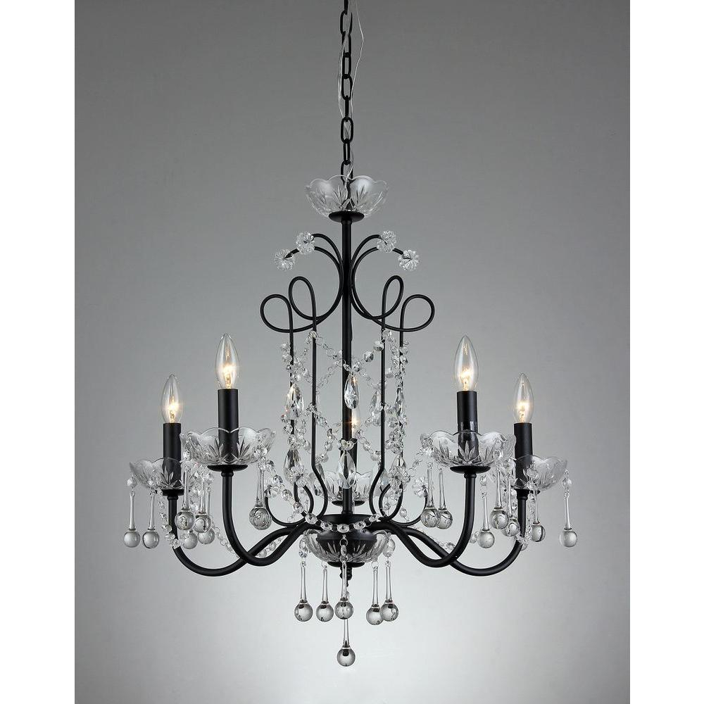 Donna 5 Light Black Indoor Crystal Chandelier With Shade Pertaining To Donna 4 Light Globe Chandeliers (Gallery 14 of 30)
