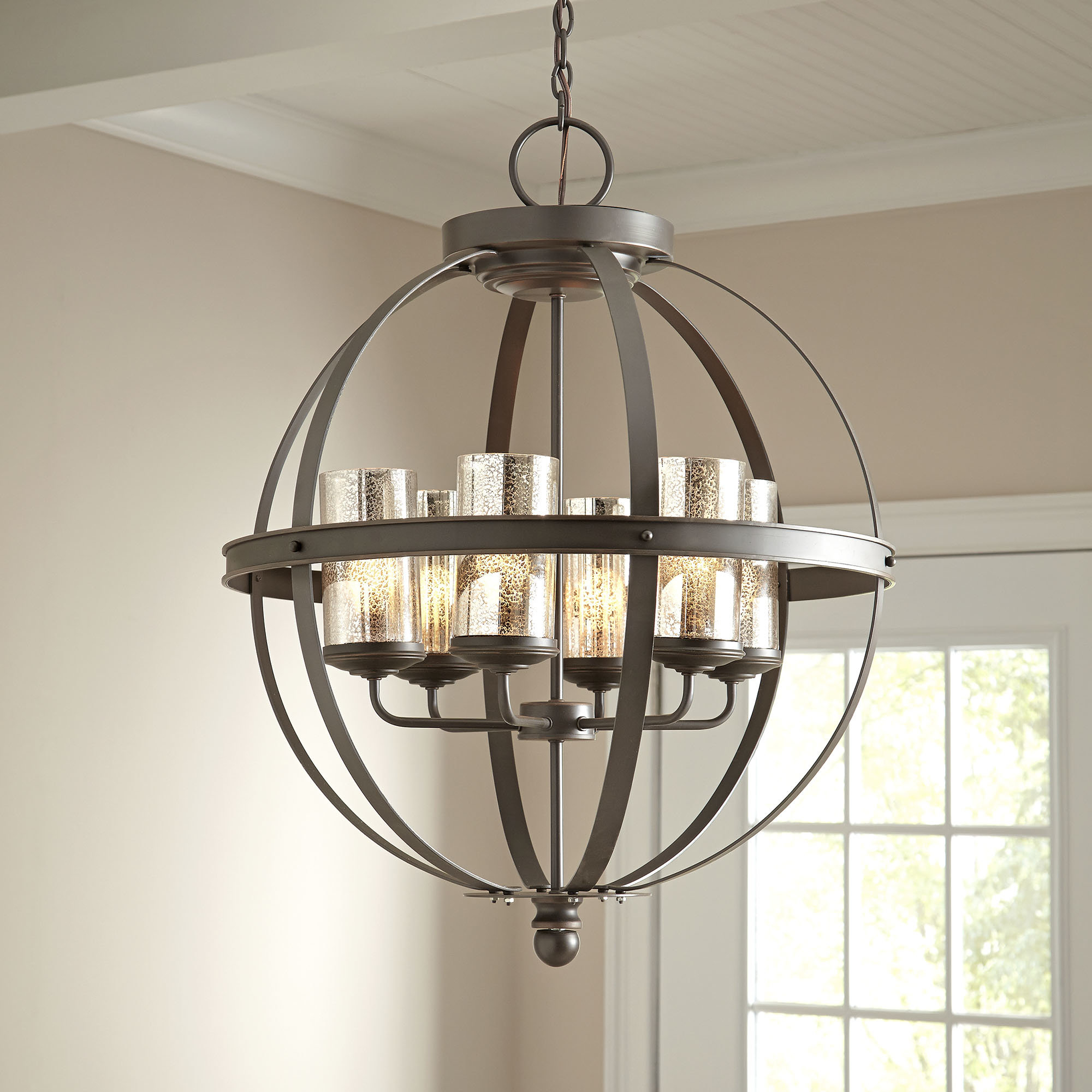 Donna 6 Light Globe Chandelier Intended For La Sarre 3 Light Globe Chandeliers (View 15 of 30)