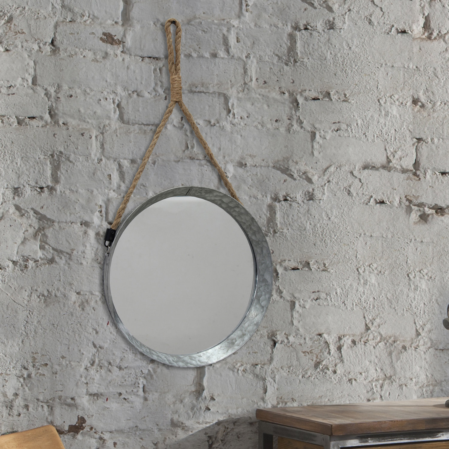 Donna Suspended Galvanized Accent Wall Mirror Pertaining To Round Galvanized Metallic Wall Mirrors (Gallery 18 of 30)