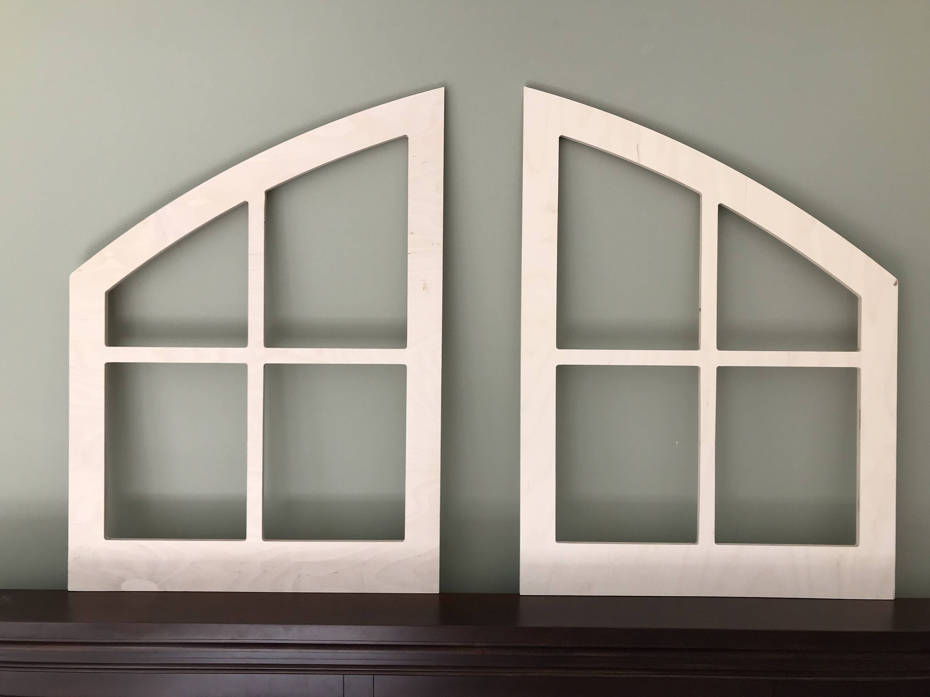 Double Arched Window Frame, Farmhouse, Finished Unfinished , Custom Shabby  Chic Wall Hanging Wall Decor Paintable Shutter 2 Windows Country Inside Shutter Window Hanging Wall Decor (Photo 20 of 30)