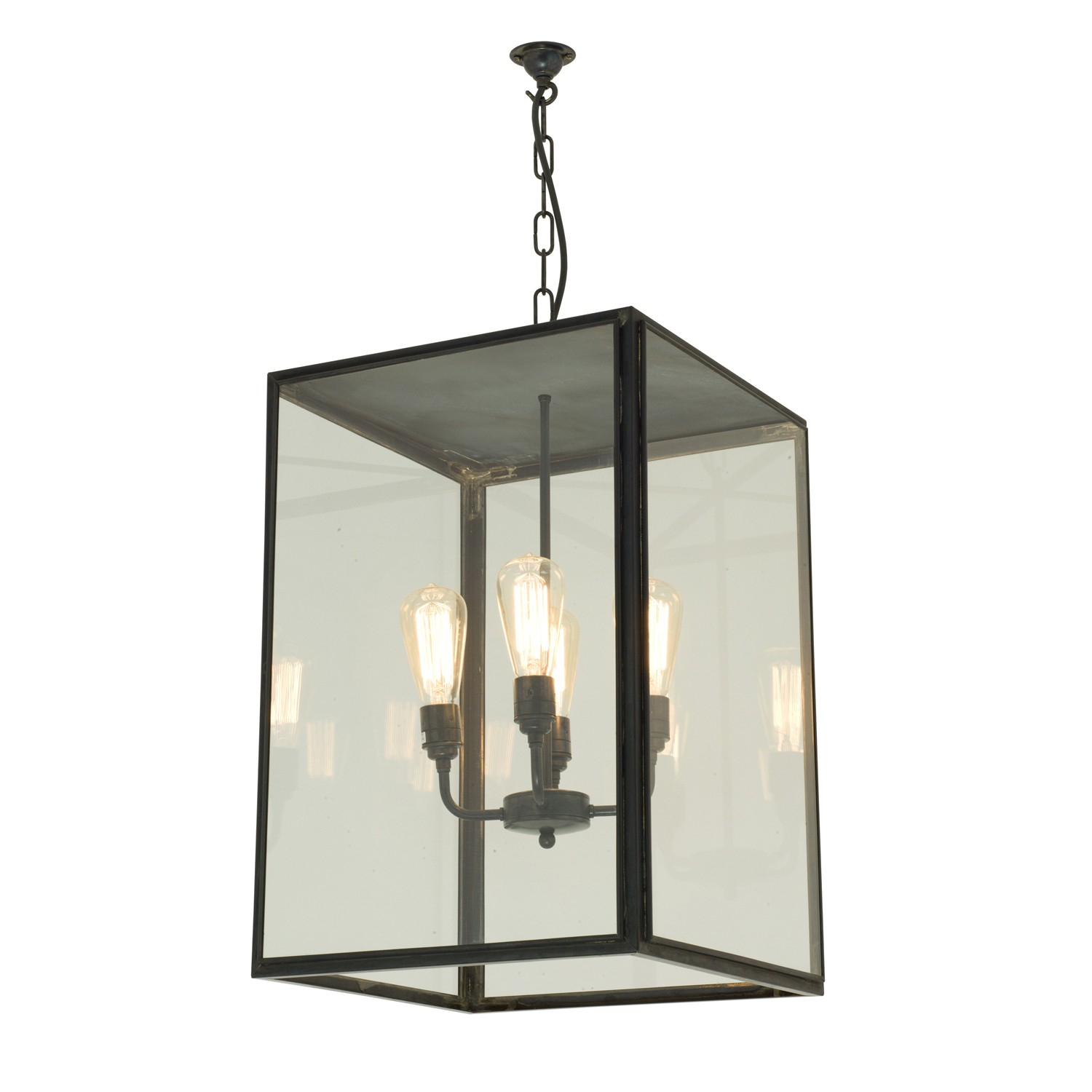 Dp7638/4Ele/br/we/cl Extra Large Exterior Square 4 Light Pendant In Weathered Brass Clear Glass Ip43 Within 4 Light Lantern Square / Rectangle Pendants (Gallery 21 of 30)