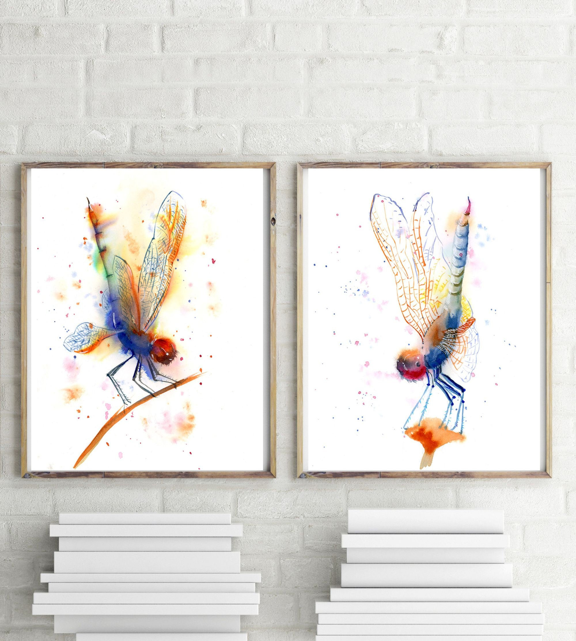 Dragonfly Wall Art Set Of 2 Prints Dragonfly Art Watercolor Insect Painting  Colorful Artwork Dragonfly Home Decor Gift Gallery Wall Decor Within Dragonfly Wall Decor (Photo 15 of 30)